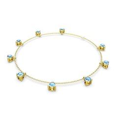 Sallantılı Tektaş Bilezik - Akuamarin 925 ayar altın kaplama gümüş bilezik (40 cm gümüş rolo zincir) #19wy0m1