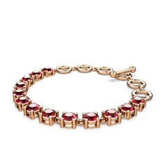 Rosen Tamtur Bilezik - Garnet 925 ayar rose altın kaplama gümüş bilezik #1scsc57