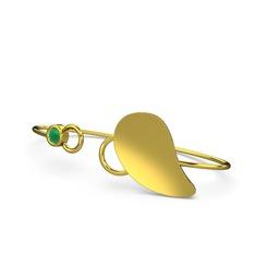 Taşlı Yaprak Bilezik - Kök zümrüt 925 ayar altın kaplama gümüş bilezik #1elp08q