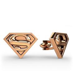 Superman Kol Düğmesi - 925 ayar rose altın kaplama gümüş kol düğmesi #anh2rr