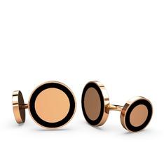 Vona Daire Kol Düğmesi - 925 ayar rose altın kaplama gümüş kol düğmesi (Siyah mineli) #1iw4ag3