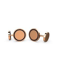 Taşlı Daire Kol Düğmesi - Siyah zirkon 925 ayar rose altın kaplama gümüş kol düğmesi #18mg0vn