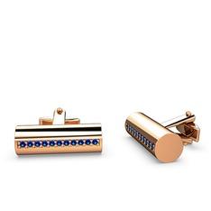 Taşlı Roller Kol Düğmesi - Lab safir 925 ayar rose altın kaplama gümüş kol düğmesi #l8d6xi
