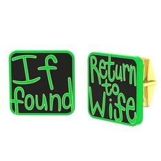 Return to Wife Kol Düğmesi - 925 ayar altın kaplama gümüş kol düğmesi (Siyah mineli) #12l7det