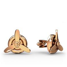 Pervane Kol Düğmesi - 925 ayar rose altın kaplama gümüş kol düğmesi #mt42uw
