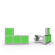 Tetris Kol Düğmesi - 925 ayar gümüş kol düğmesi (Neon yeşil mineli) #l7nuzb