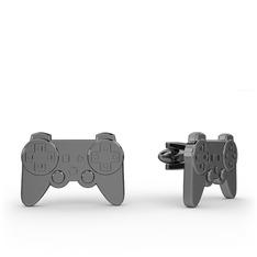 Play Station Kol Düğmesi - 925 ayar siyah rodyum kaplama gümüş kol düğmesi #1392uhj