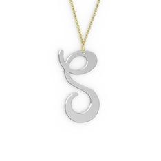 S Harf Kolye - 18 ayar beyaz altın kolye (40 cm gümüş rolo zincir) #bkc2y7