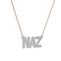 İsim Kolye - 925 ayar gümüş kolye (3 karakterli arial, 40 cm rose altın rolo zincir) #nsvcsh