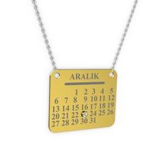Takvim Kolye - Beyaz zirkon 14 ayar altın kolye (40 cm beyaz altın rolo zincir) #1r0qqat