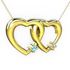 İkili Kalp Kolye - Akuamarin ve pırlanta 14 ayar altın kolye (0.036 karat, 40 cm gümüş rolo zincir) #1oltouq