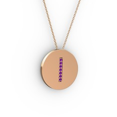I Baş Harf Kolye - Ametist 14 ayar rose altın kolye (40 cm rose altın rolo zincir) #ch81qx