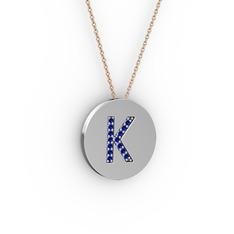 K Baş Harf Kolye - Lab safir 8 ayar beyaz altın kolye (40 cm rose altın rolo zincir) #17mgvz3