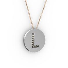 L Baş Harf Kolye - Dumanlı kuvars 18 ayar beyaz altın kolye (40 cm rose altın rolo zincir) #1j0hkp2