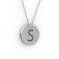 S Baş Harf Kolye - Siyah zirkon 18 ayar beyaz altın kolye (40 cm gümüş rolo zincir) #1f0c7tt