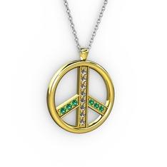 Barış Kolye - Dumanlı kuvars ve yeşil kuvars 14 ayar altın kolye (40 cm beyaz altın rolo zincir) #13mfs0g