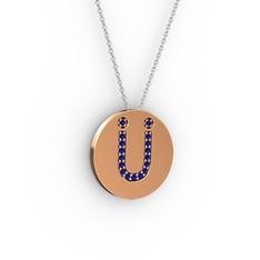 Ü Baş Harf Kolye - Lab safir 925 ayar rose altın kaplama gümüş kolye (40 cm beyaz altın rolo zincir) #1mbcnrq