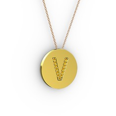 V Baş Harf kolye - Sitrin 14 ayar altın kolye (40 cm rose altın rolo zincir) #1hc9n2k
