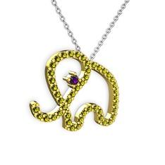 Taşlı Fil Kolye - Peridot ve ametist 14 ayar altın kolye (40 cm beyaz altın rolo zincir) #55pq15