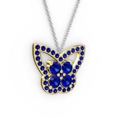 Kelebek Kolye - Lab safir 14 ayar altın kolye (40 cm gümüş rolo zincir) #1l7863i