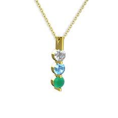 Trinity Taşlı Kolye - Beyaz zirkon, akuamarin ve kök zümrüt 14 ayar altın kolye (40 cm gümüş rolo zincir) #myvhhe