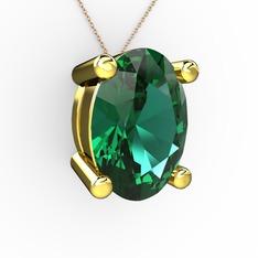 Oval Kolye - Yeşil kuvars 14 ayar altın kolye (40 cm rose altın rolo zincir) #bdit4o