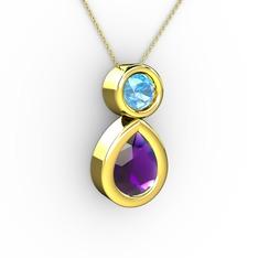 İkili Damla Kolye - Ametist ve akuamarin 14 ayar altın kolye (40 cm gümüş rolo zincir) #1h5i16t