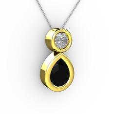 İkili Damla Kolye - Siyah zirkon ve beyaz zirkon 14 ayar altın kolye (40 cm beyaz altın rolo zincir) #x1n6xe