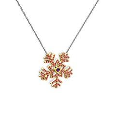 Lumi Kar Tanesi Kolye - Ametist ve rodolit garnet 14 ayar altın kolye (40 cm gümüş rolo zincir) #1vbmncp