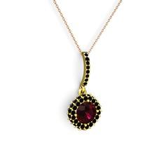 Sivana Kolye - Rodolit garnet ve siyah zirkon 14 ayar altın kolye (40 cm rose altın rolo zincir) #1vdq77x