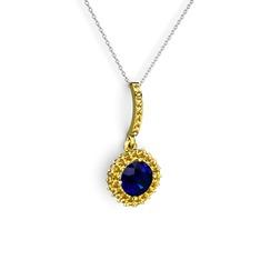 Sivana Kolye - Lab safir ve sitrin 14 ayar altın kolye (40 cm gümüş rolo zincir) #2uesww