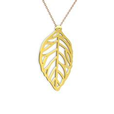 Yaprak Kolye - 14 ayar altın kolye (40 cm rose altın rolo zincir) #1mrpw4p