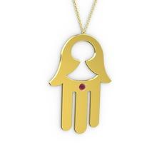 Fatma'nın Eli Kolye - Kök yakut 14 ayar altın kolye (40 cm gümüş rolo zincir) #109hjzp