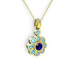 Elmas Çiçek Kolye - Akuamarin ve lab safir 14 ayar altın kolye (40 cm altın rolo zincir) #1n77kgj