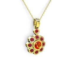 Elmas Çiçek Kolye - Kök yakut ve sitrin 14 ayar altın kolye (40 cm altın rolo zincir) #1qoxwrr