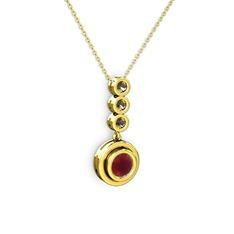 Belinda Kolye - Kök yakut ve dumanlı kuvars 14 ayar altın kolye (40 cm altın rolo zincir) #4zm99b
