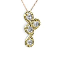 Soltar Damla Kolye - Beyaz zirkon ve dumanlı kuvars 14 ayar altın kolye (40 cm rose altın rolo zincir) #18y0r5n