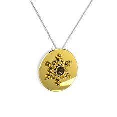 Neu Kar Tanesi Kolye - Dumanlı kuvars ve sitrin 14 ayar altın kolye (40 cm gümüş rolo zincir) #1wfo7jb
