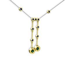 Taşlı Belly Kolye - Yeşil kuvars ve lab safir 14 ayar altın kolye (40 cm gümüş rolo zincir) #12xgs8p