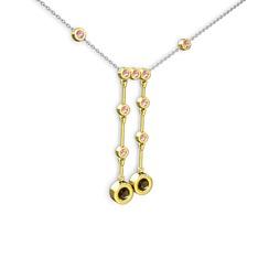 Taşlı Belly Kolye - Dumanlı kuvars ve pembe kuvars 14 ayar altın kolye (40 cm gümüş rolo zincir) #1smjyb6