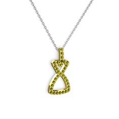 Simla Kolye - Peridot 14 ayar altın kolye (40 cm beyaz altın rolo zincir) #3lp12u