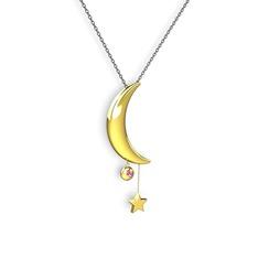 Ay Yıldız Taşlı Kolye - Pembe kuvars 14 ayar altın kolye (40 cm gümüş rolo zincir) #16j5awp