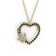 Maita Kalp Kolye - Beyaz zirkon ve siyah zirkon 14 ayar altın kolye (40 cm altın rolo zincir) #kv2p19