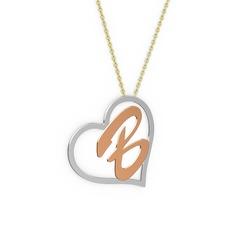 Kalpli İsim Kolye - 8 ayar beyaz altın kolye (1 karakterli el yazısı, 40 cm altın rolo zincir) #16kktnb