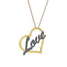 Kalpli İsim Kolye - 925 ayar altın kaplama gümüş kolye (4 karakterli el yazısı, 40 cm rose altın rolo zincir) #1ee3i2w