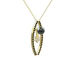 Alyis İnci Kolye - Siyah inci, siyah zirkon ve pırlanta 14 ayar altın kolye (0.011 karat, 40 cm gümüş rolo zincir) #1cjd54p