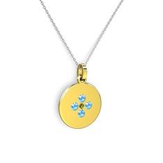 Gardenia Çiçek Kolye - Peridot ve akuamarin 14 ayar altın kolye (40 cm gümüş rolo zincir) #zdpr63