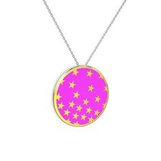 Mineli Yıldız Kolye - 14 ayar altın kolye (Neon pembe mineli, 40 cm beyaz altın rolo zincir) #1wisnww