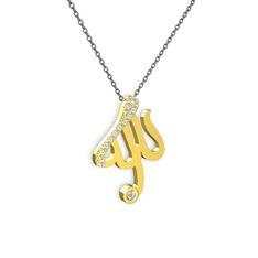 Taşlı Allah Yazılı Kolye - Swarovski ve pırlanta 14 ayar altın kolye (0.036 karat, 40 cm gümüş rolo zincir) #1a1qdnj