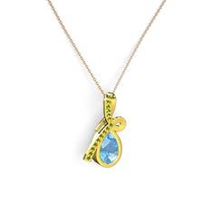 Büyük Ria Kolye - Peridot ve akuamarin 14 ayar altın kolye (40 cm rose altın rolo zincir) #17kbodk
